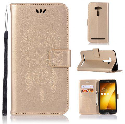 Owl Campanula Fashion Wallet Cover For Asus Zenfone 2 Laser ZE550KL / ZE551KL Phone Bag With Stand PU Flip Leather Case - GOLDEN