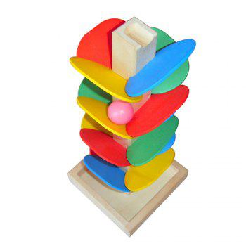 Spiral Ball Game Toy Educational Wooden Tree Marble Kid Child Tower Build Baby - COLORMIX