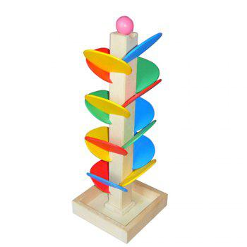 Spiral Ball Game Toy Educational Wooden Tree Marble Kid Child Tower Build Baby - COLORMIX COLORMIX