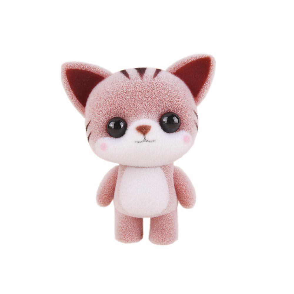 Mini Lovely Flocking Coffee Cat Doll Furnishing Articles Kids Gift - COFFEE
