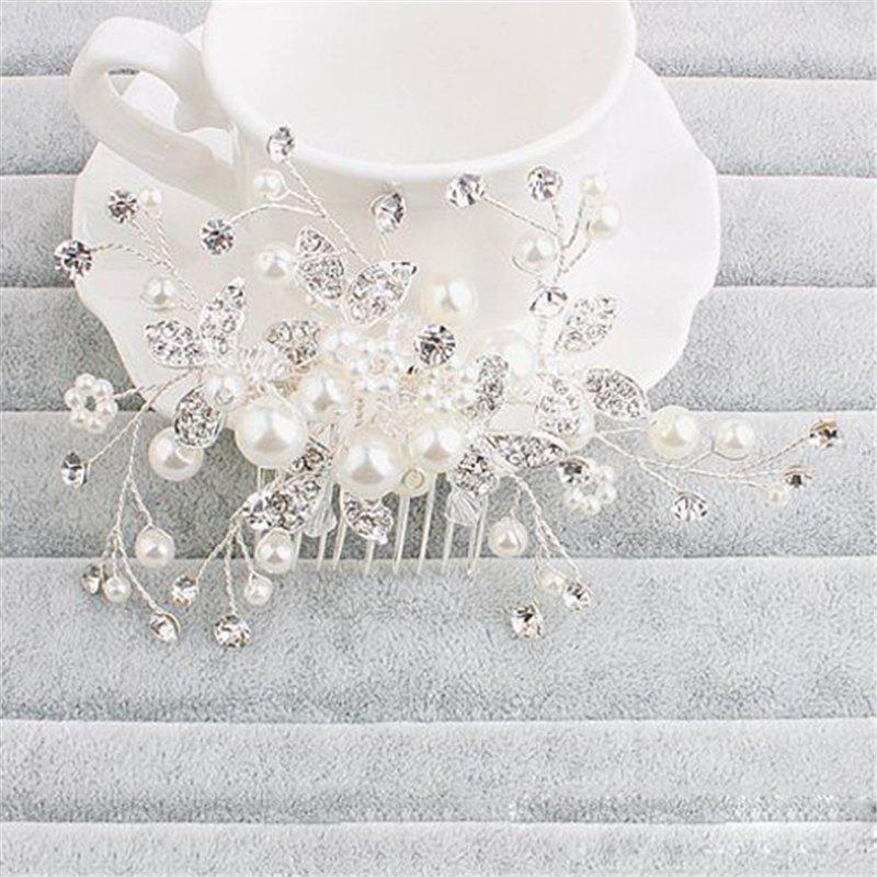 European Style Bride Headgear Ornament Handmade Pearl Jewelry for Hair - WHITE