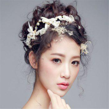 Bow Knot Fillet Bride Hair Jewelry White Wedding Veil Accessories Handmade Headgear - WHITE