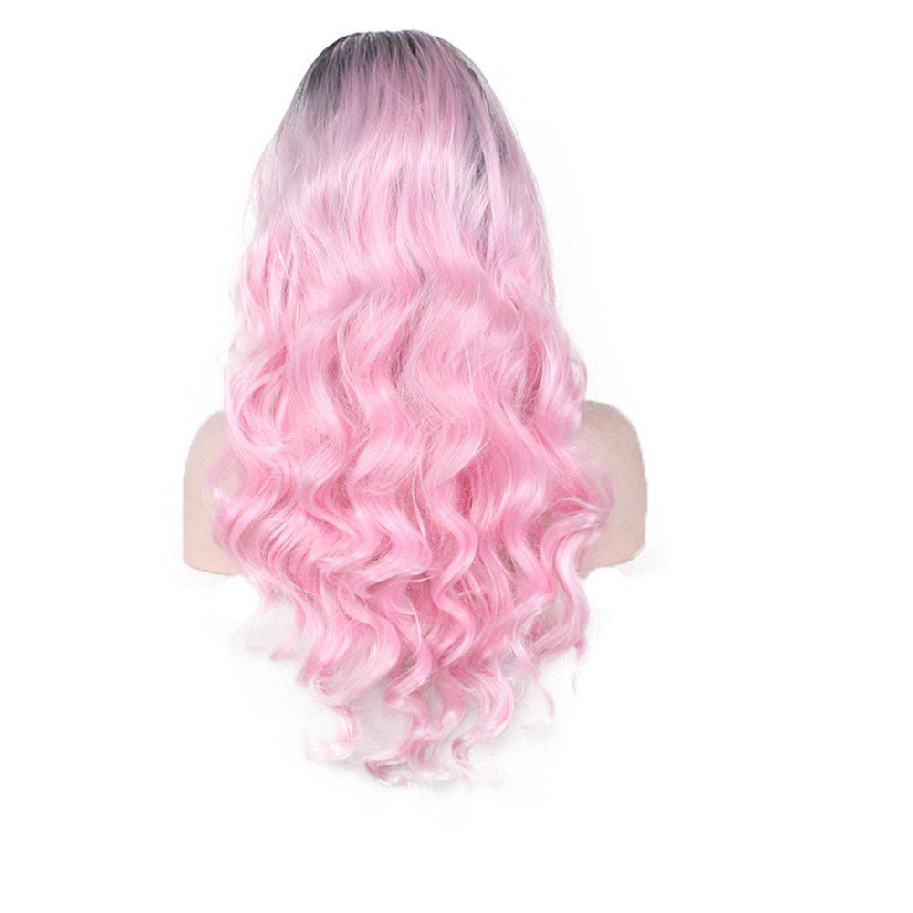 Ladies Fashion Pretty Black Gradient Pink Big Wavy Curly Wig - PINK