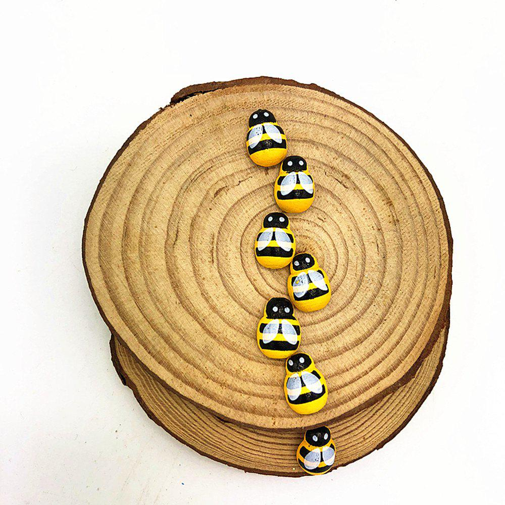 DIY Yellow Mini Bee Wood Paste Home Party Decorations 100PCS - YELLOW
