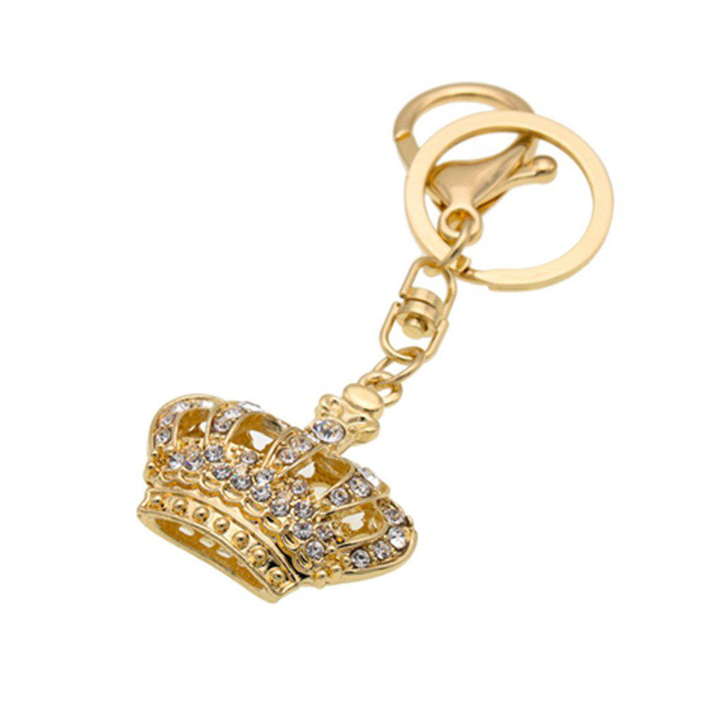 Diamondo Shape Keychains Women Fashion Rhinestone Bag Pendant Car Key Accessories - GOLDEN