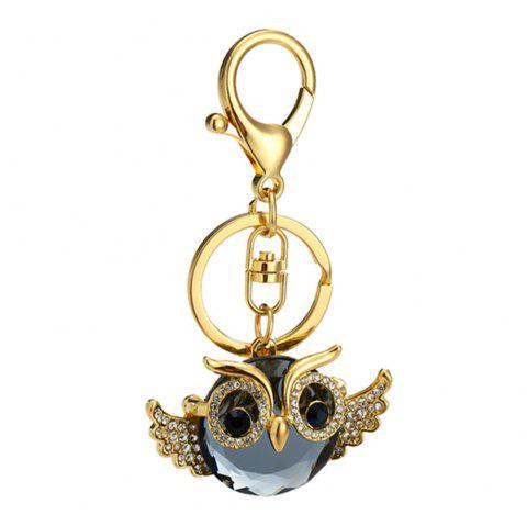 Diamond Owl Shape Keychains Women Fashion Rhinestone Bag Pendant Car Key Accessories - GOLDEN