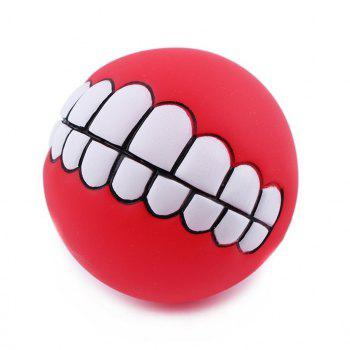 Pet Dog Puppy Ball Teeth Silicon Chew Toys Sound Novelty Playing Funny Toys (Color: Multicolor) - AS THE PICTURE ORANGE