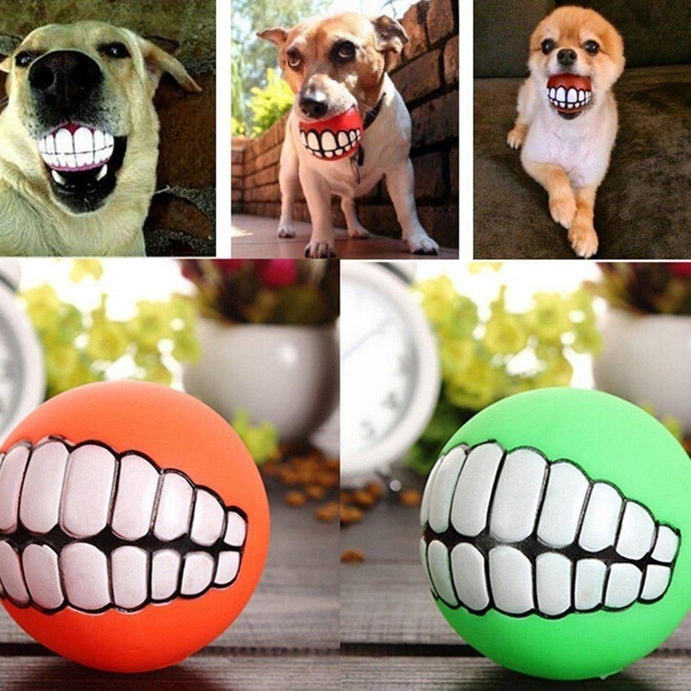 Pet Dog Puppy Ball Teeth Silicon Chew Toys Sound Novelty Playing Funny Toys (Color: Multicolor) - AS THE PICTURE RED