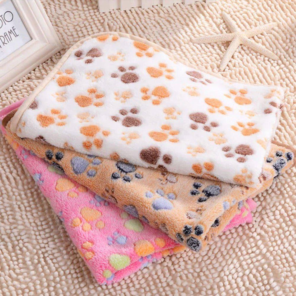 Pet Warm Paw Print Pattern Dog Puppy Cat Rabbit Fleece Soft Blanket Mat Gift - PINK XS