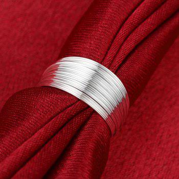 Women's Sterling Silver Ring Multi-layer Simple Fashion Personality Round Opening Ring - SILVER 7
