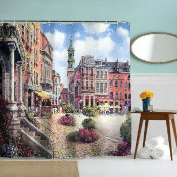 Oil Painting City 2 Polyester Shower Curtain Bathroom  High Definition 3D Printing Water-Proof - COLORMIX W59 INCH * L71 INCH