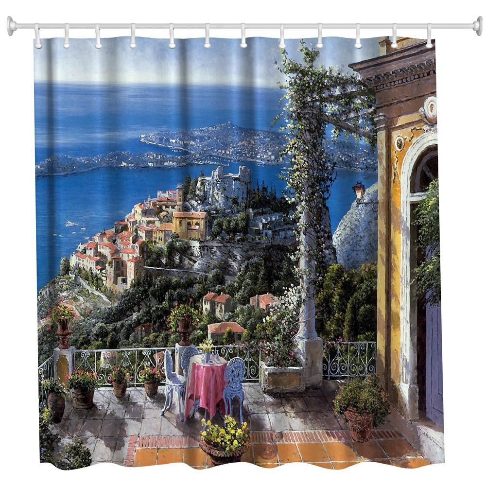 Oil Painting City 3 Polyester Shower Curtain Bathroom  High Definition 3D Printing Water-Proof - COLORMIX W71 INCH * L79 INCH