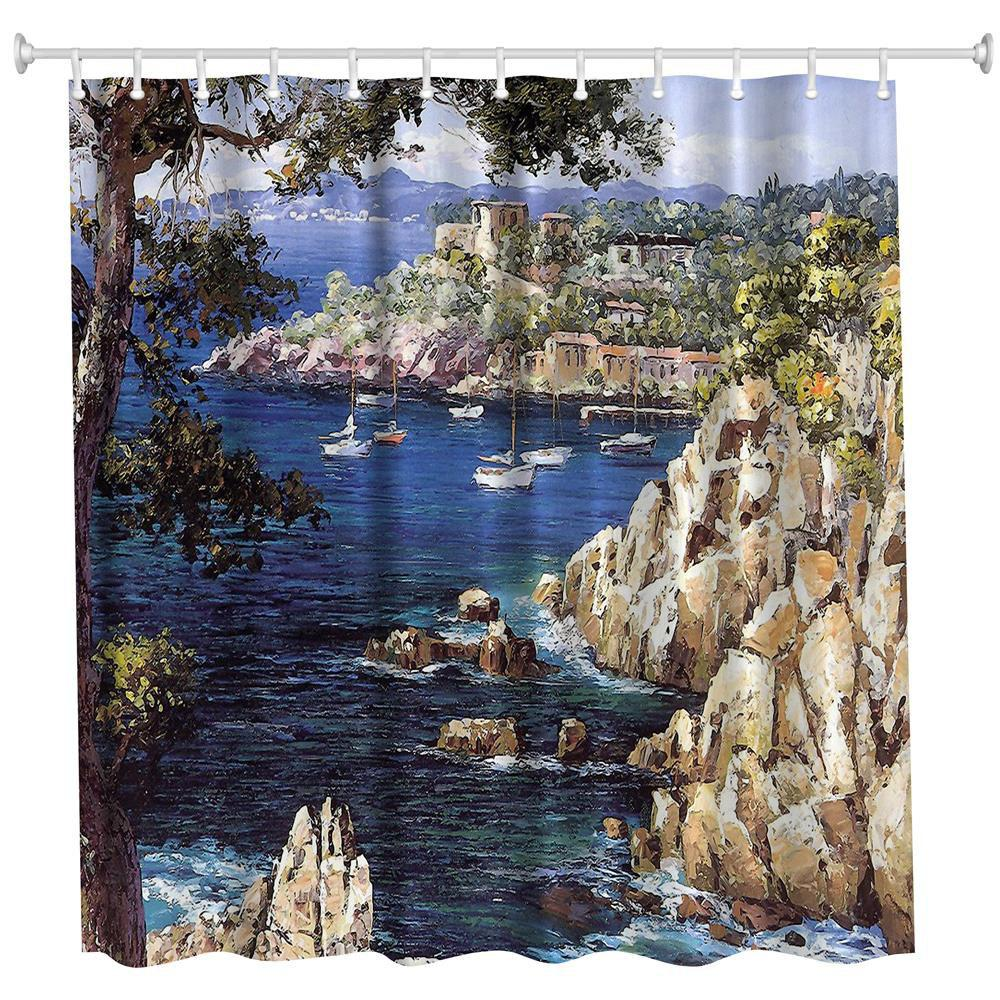 Oil Painting City 4 Polyester Shower Curtain Bathroom  High Definition 3D Printing Water-Proof - COLORMIX W71 INCH * L79 INCH