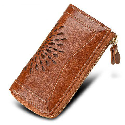 NaLandu Vintage Hollow Out Design Leather Key Holder Women Wallet Pouch - BROWN