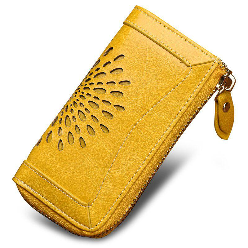 NaLandu Vintage Hollow Out Design Leather Key Holder Women Wallet Pouch - YELLOW