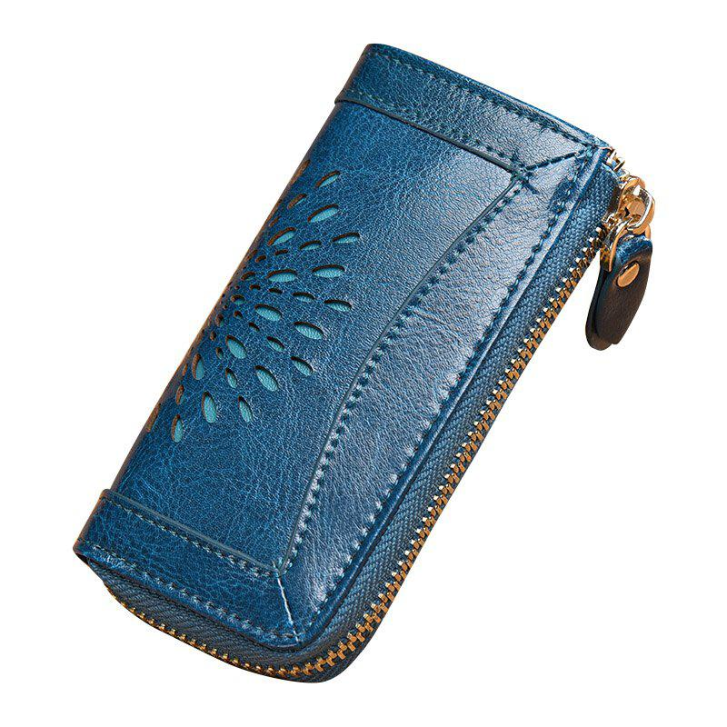 NaLandu Vintage Hollow Out Design Leather Key Holder Women Wallet Pouch - BLUE