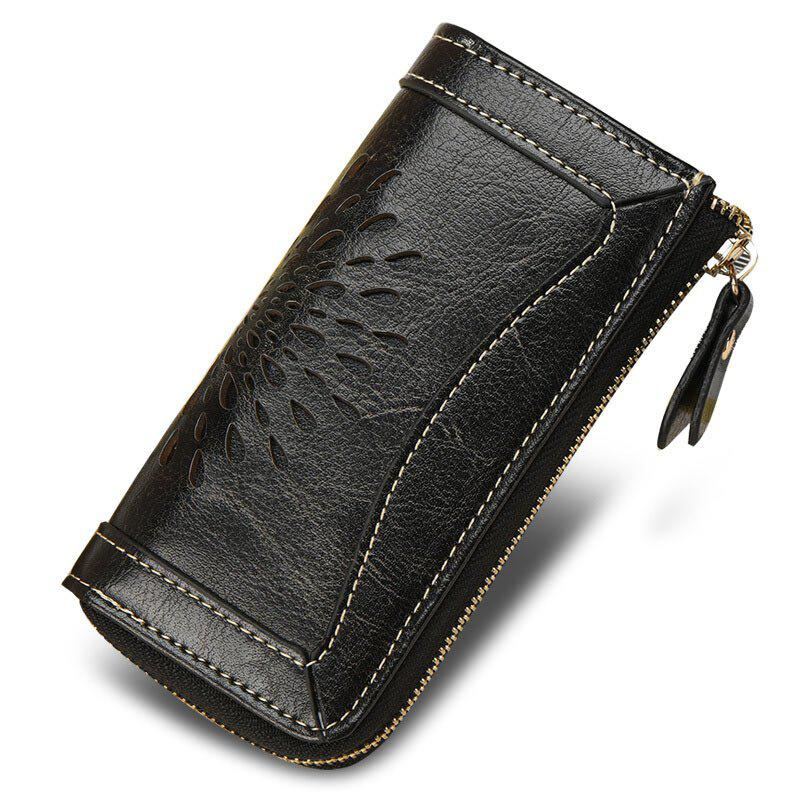 NaLandu Vintage Hollow Out Design Leather Key Holder Women Wallet Pouch - BLACK