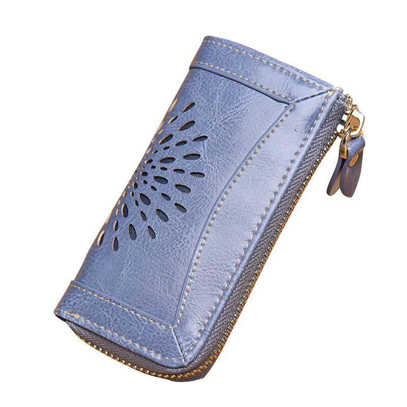 NaLandu Vintage Hollow Out Design Leather Key Holder Women Wallet Pouch - GREY BLUE