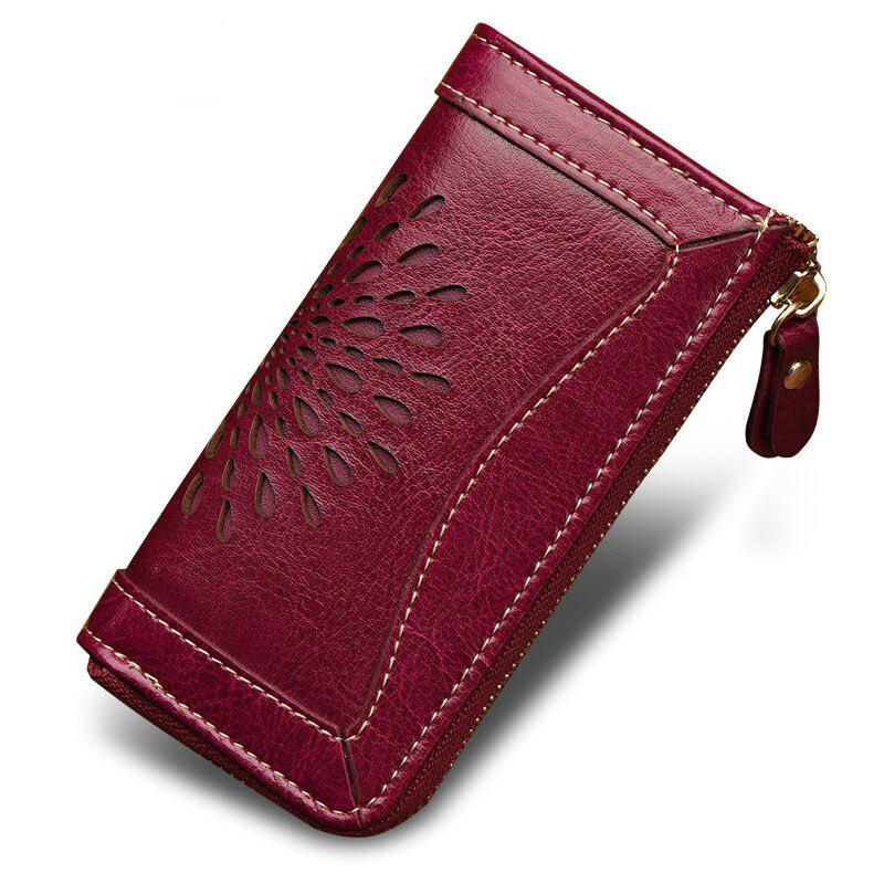 NaLandu Vintage Hollow Out Design Leather Key Holder Women Wallet Pouch - PURPLE RED