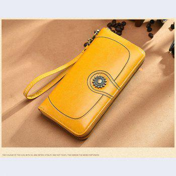 NaLandu Vintage Women's Large Capacity Luxury Wax Leather Clutch Wallet Card Holder Wristlet Handbag - YELLOW