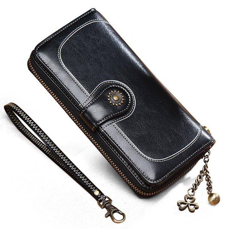 NaLandu Vintage Women's Large Capacity Luxury Wax Leather Clutch Wallet Card Holder Wristlet Handbag - BLACK