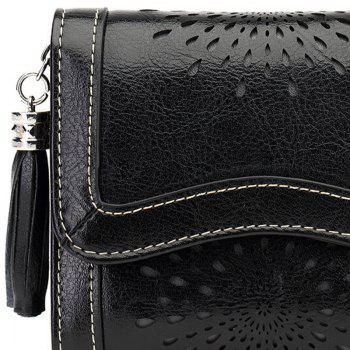 NaLandu Women Vintage Trifold Wallet Hollow Out Design Wax Leather Clutch Purse Multi Card Organizer Holders for Ladies - BLACK