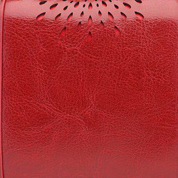 NaLandu Women Vintage Trifold Wallet Hollow Out Design Wax Leather Clutch Purse Multi Card Organizer Holders for Ladies -  WINE RED