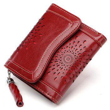 NaLandu Women Vintage Trifold Wallet Hollow Out Design Wax Leather Clutch Purse Multi Card Organizer Holders for Ladies - WINE RED WINE RED