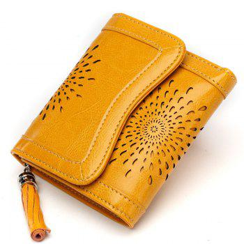 NaLandu Women Vintage Trifold Wallet Hollow Out Design Wax Leather Clutch Purse Multi Card Organizer Holders for Ladies - YELLOW YELLOW