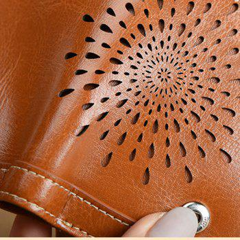 NaLandu Women Vintage Trifold Wallet Hollow Out Design Wax Leather Clutch Purse Multi Card Organizer Holders for Ladies - BROWN