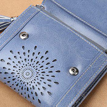 NaLandu Women Vintage Trifold Wallet Hollow Out Design Wax Leather Clutch Purse Multi Card Organizer Holders for Ladies -  GREY BLUE