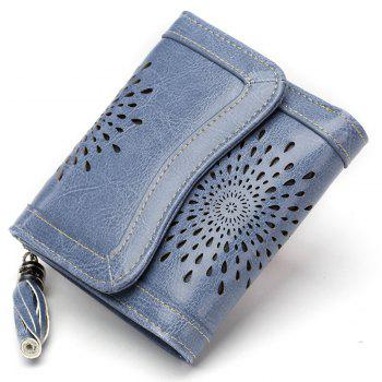 NaLandu Women Vintage Trifold Wallet Hollow Out Design Wax Leather Clutch Purse Multi Card Organizer Holders for Ladies - GREY BLUE GREY BLUE