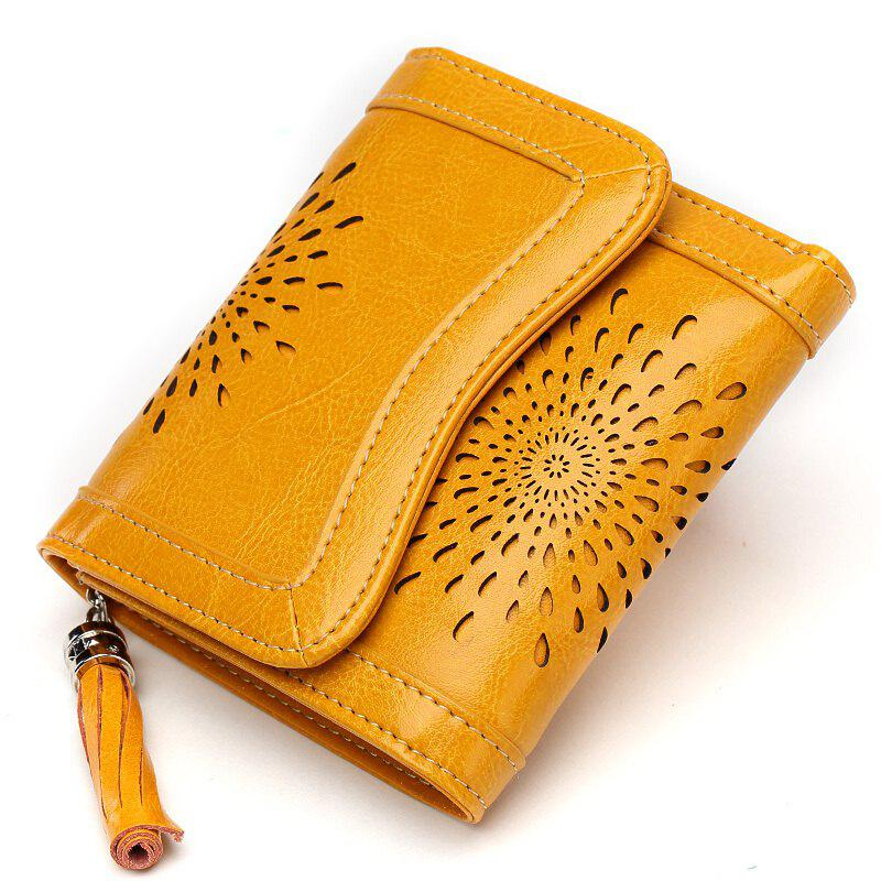 NaLandu Women Vintage Trifold Wallet Hollow Out Design Wax Leather Clutch Purse Multi Card Organizer Holders for Ladies - YELLOW