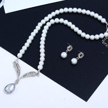 Freshwater With Beads Jewelry Sets Silver Wedding Decoration For Women Pendant Necklaces and Earrings - WHITE