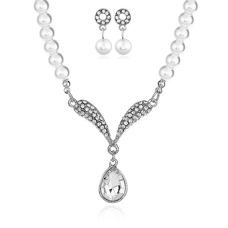 Фото Freshwater With Beads Jewelry Sets Silver Wedding Decoration For Women Pendant Necklaces and Earrings