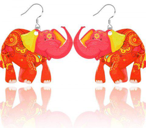 2017 New Fashion Jewelry Brand Cartoon Animal Happy Prairie Story Series Elephant Drop Earrings For Women And Girls - RED