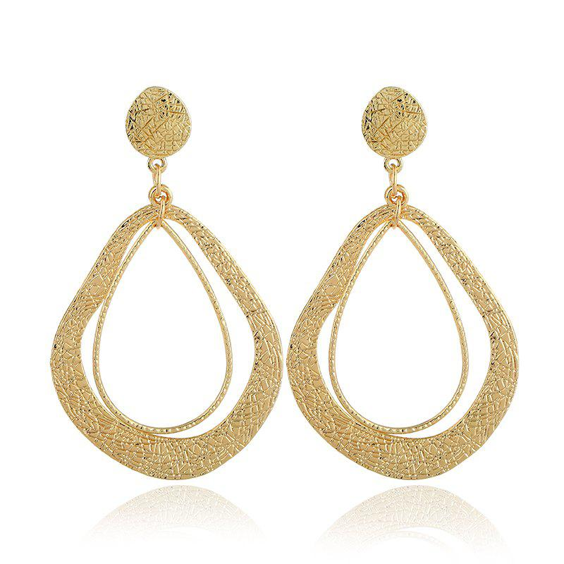 Fashion Design Double Oval Resin Dangle Drop Earrings For Women 2018 Fashion Charm Jewelry Drop Earrings - GOLDEN