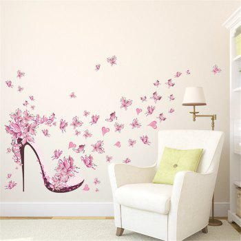 Pink Butterfly High Heels Wall Art Sticker Home Decoration Waterproof Removable Decals -  COLORMIX