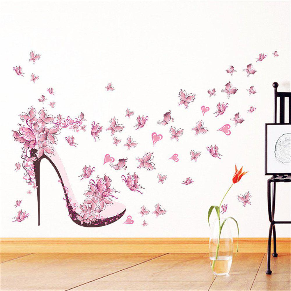 Pink Butterfly High Heels Wall Art Sticker Home Decoration Waterproof  Removable Decals   COLORMIX