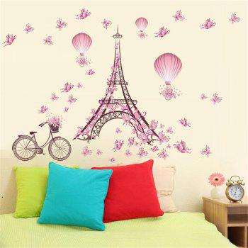Paris Tower Pink Butterfly Wall Art Sticker For Home Room Decoration Waterproof Removable Decals - COLORMIX