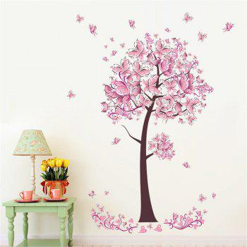 Pink Butterfly Flower Tree Wall Sticker  For Home Room Decoration Waterproof Removable Decals - COLORMIX