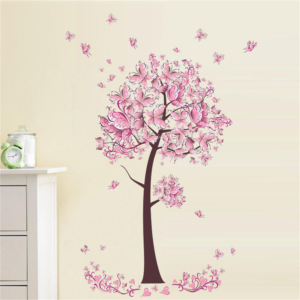 Pink Butterfly Flower Tree Wall Sticker For Home Room Decoration Waterproof Removable Decals home decoration removable quote wall art sticker