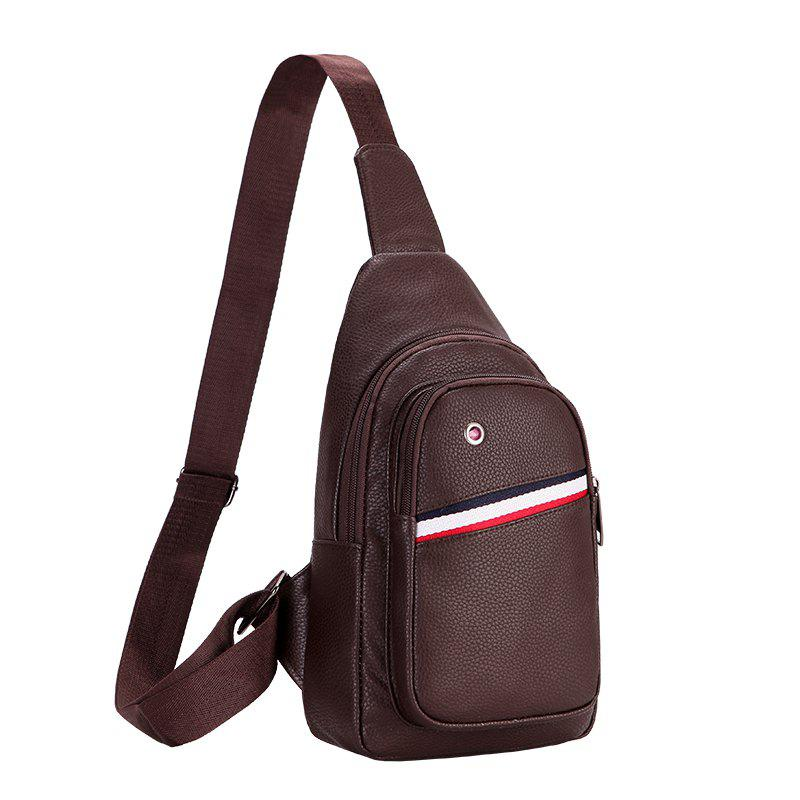New Casual Korean Version of The Shoulder Backpack Messenger Men'S Sports  Chest Bag - BROWN VERTICAL