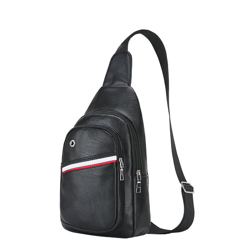 New Casual Korean Version of The Shoulder Backpack Messenger Men'S Sports  Chest Bag - BLACK VERTICAL
