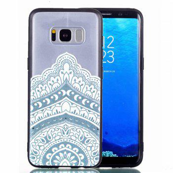 for Samsung A8 Plus Relievo Mandala Soft Clear TPU Phone Casing Mobile Smartphone Cover Shell Case - WHITE