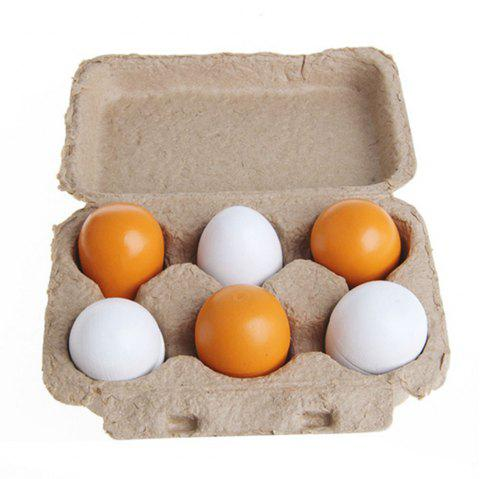 Wooden Pretend Play Eggs Assembling Toy for Kids Educational Gift Kitchen Food 6PCS - YELLOW