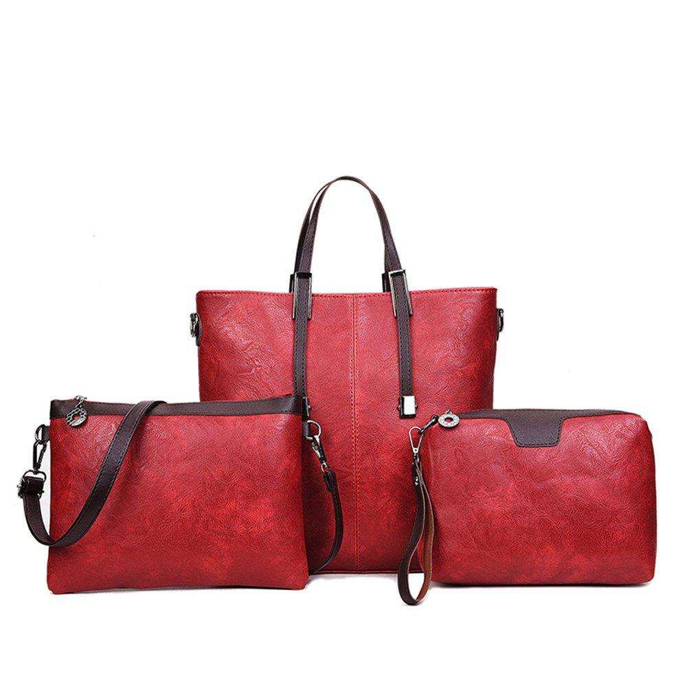 Women's Three-Piece Messenger Lady Portable Shoulder Small Bag - WINE RED