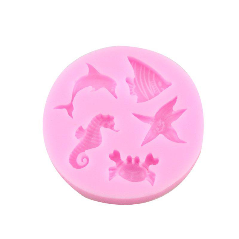 Mer Animal poisson Sea Horse Starfish Dolphin Silicone fondant moule - Rose