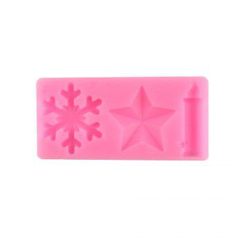 Snow Stars Candles Silicone Cake Mold -  PINK