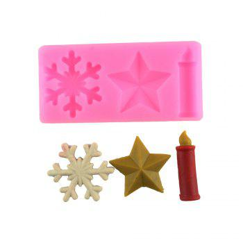 Snow Stars Candles Silicone Cake Mold - PINK PINK